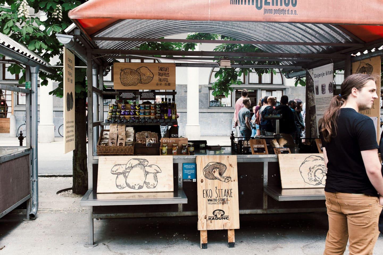 Pilzstand in Ljubljana