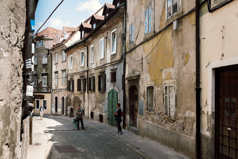 Häuserschlucht in Ljubljana
