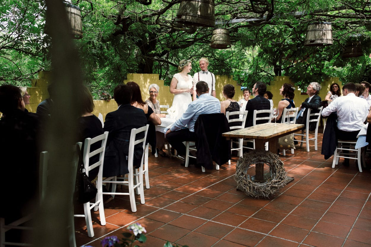 Rede des Hochzeitspaares auf den Terassen des Lohfs olle Hüsken Restaurant